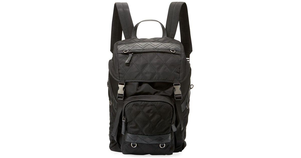 3c092acdaf6c Lyst - Prada Patterned Nylon & Leather Utility Backpack in Black