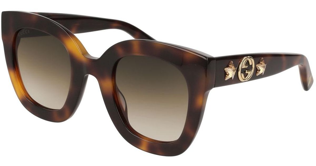 2967696c8c Gucci Rectangle Acetate GG Sunglasses W  Crystal Stars in Brown - Lyst