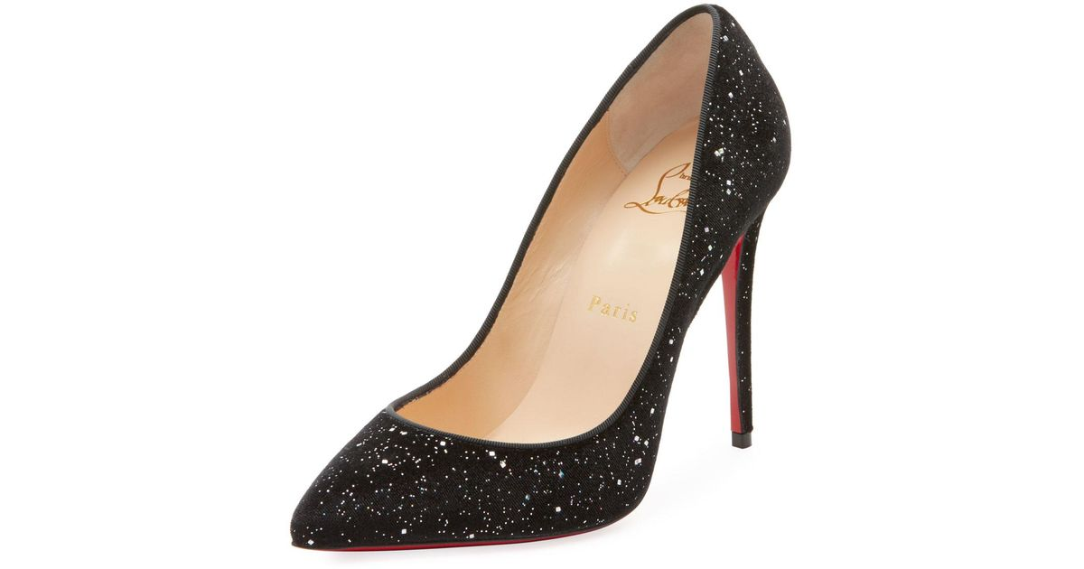 37d198035a5c Lyst - Christian Louboutin Pigalle Follies Galactic Red Sole Pumps in Black