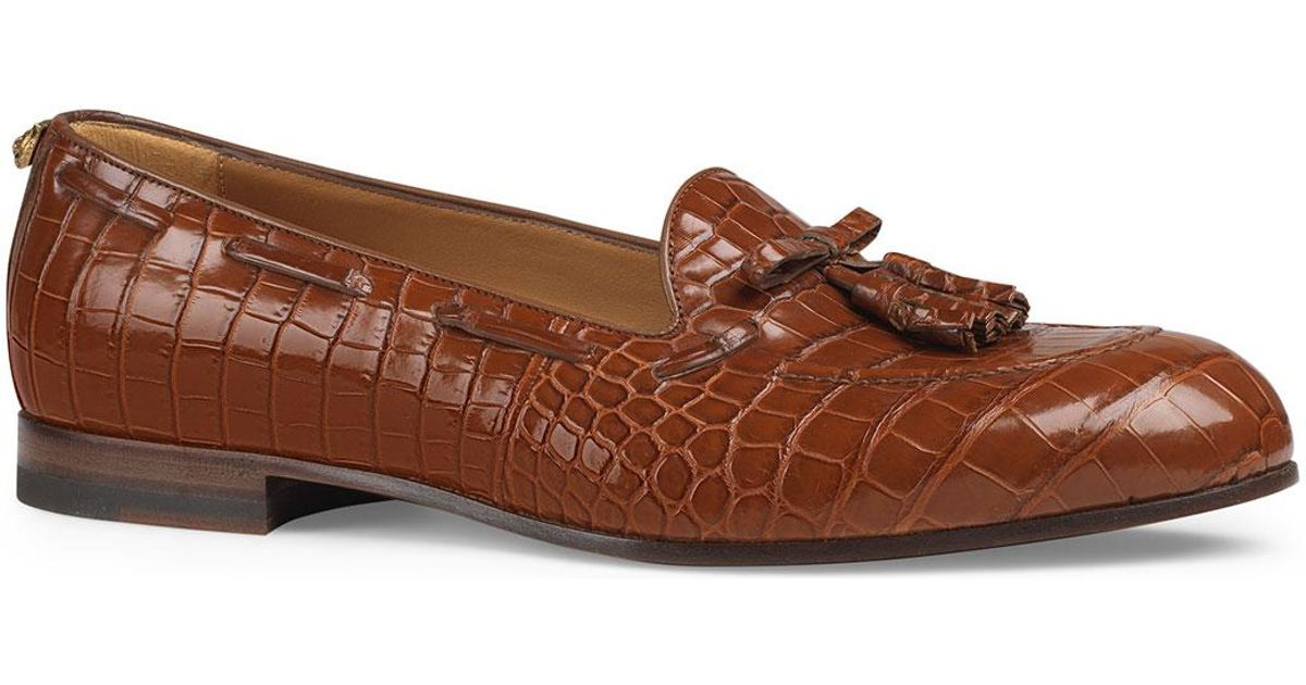 0f1764634f1 Lyst - Gucci Crocodile Tassel Loafer in Brown for Men