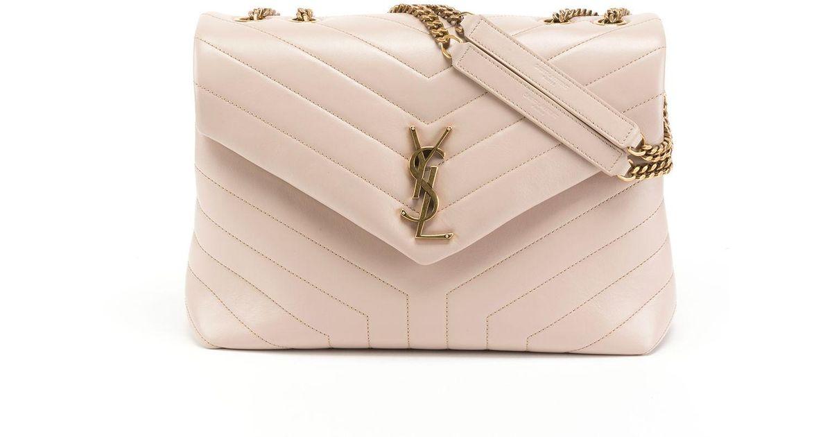 a830d96ccd1 Lyst - Saint Laurent Loulou Monogram Ysl Medium Quilted V-flap Chain  Shoulder Bag