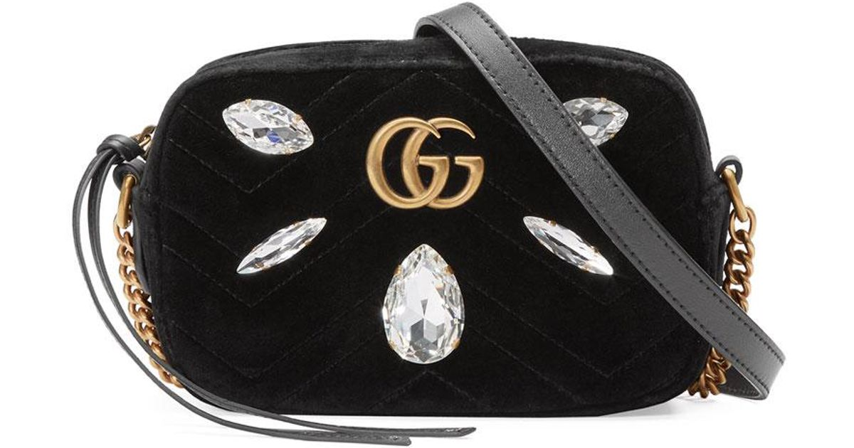 9b49f6c90 Gucci Gg Marmont Mini Matelassé Velvet Camera Bag in Black - Lyst