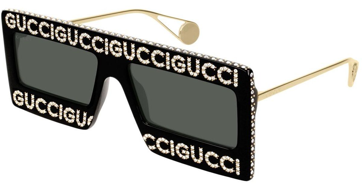 e12e62e559c Gucci Shield Sunglasses With Crystal Logo ✓ Sunglasses Galleries