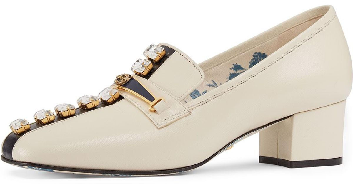 c1d6c26ec Lyst - Gucci Tiger-bit Leather Loafer With Jewels