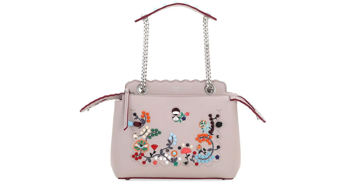 90dc8735bc66 Lyst - Fendi Dotcom Click Embroidered Shoulder Bag in Pink