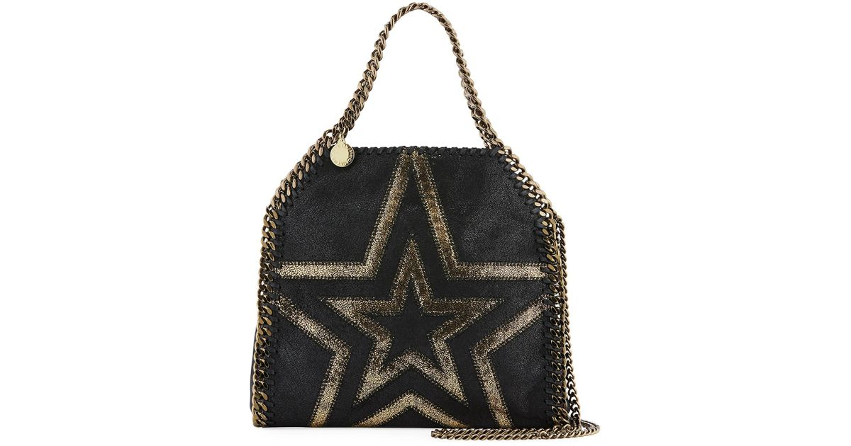 ced76b60651 Lyst - Stella McCartney Shaggy Gradient Star Mini Falabella Tote Bag in  Black
