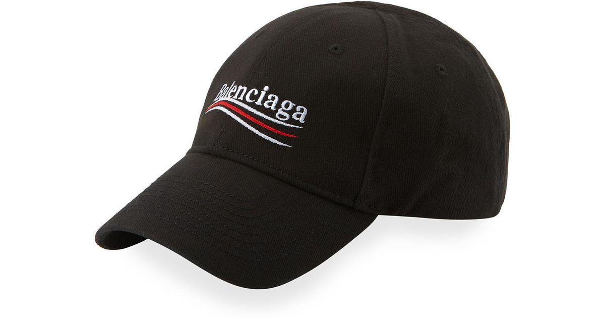 Balenciaga Campaign Logo Snapback Baseball Cap in Black for Men - Lyst 8039ccdcb400
