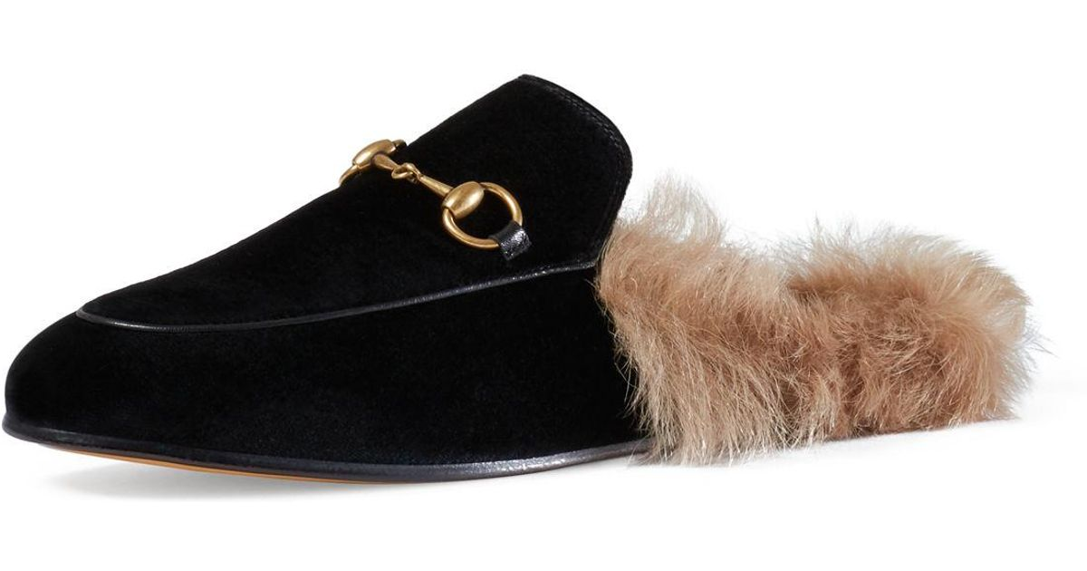 e43588bc3e0f Lyst - Gucci Princetown Fur-lined Velvet Slipper in Black
