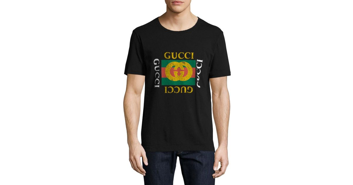 b30e3e90 Gucci Washed T-shirt W/gg Print in Black for Men - Lyst