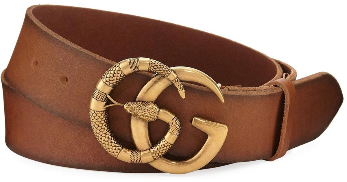 22373130b49 Lyst - Gucci Cuoio Toscano Snake GG Belt in Brown for Men
