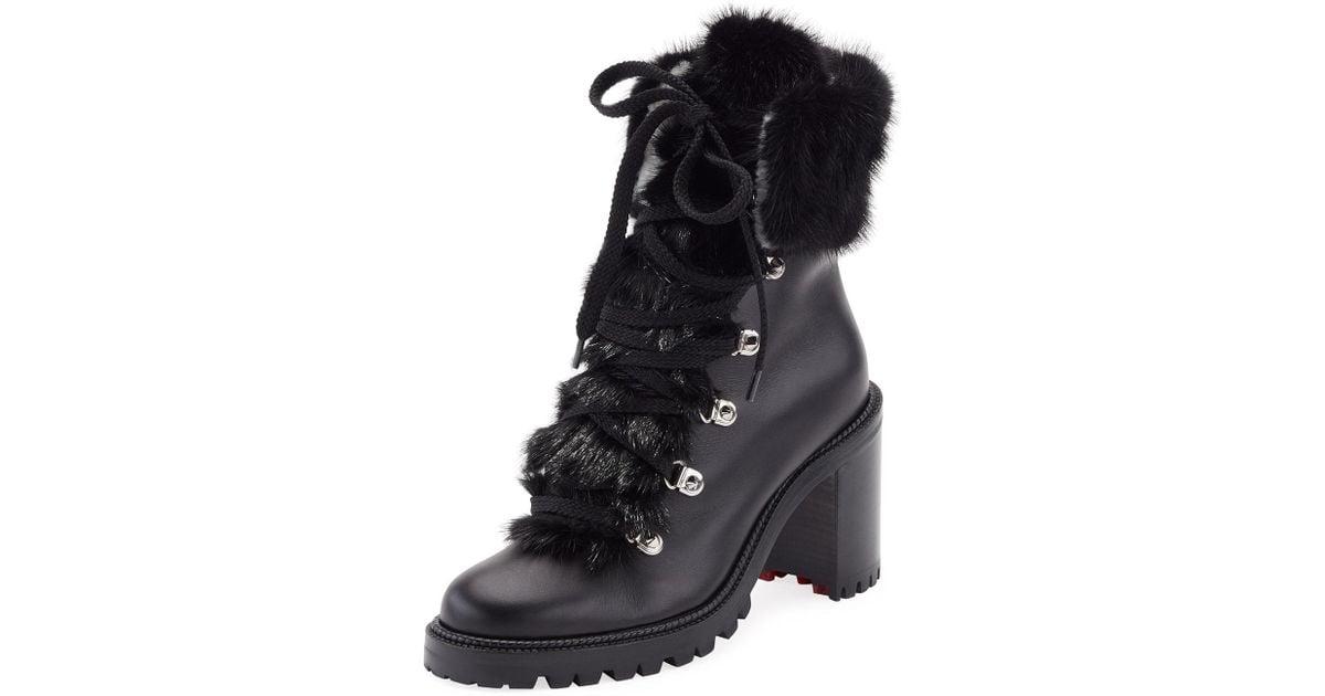 cbf8b561a9eb ... uk christian louboutin fanny leather fur trim red sole combat boot in  black lyst 86958 df8bd