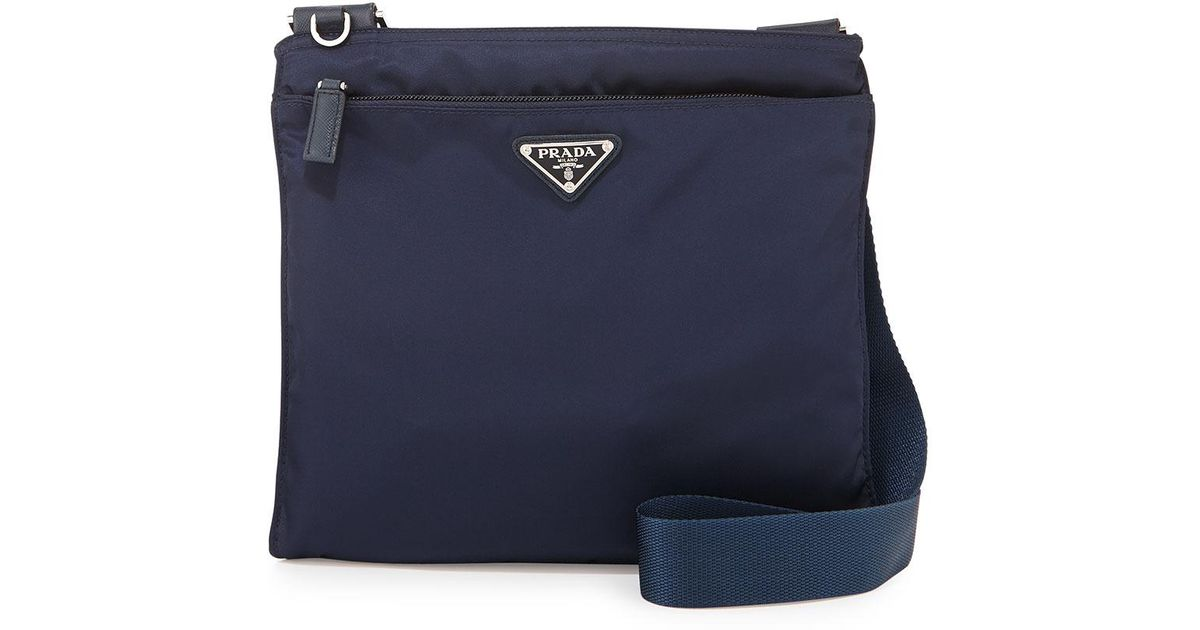ab9ce33ba87c Lyst - Prada Vela Small Nylon Crossbody Bag in Blue