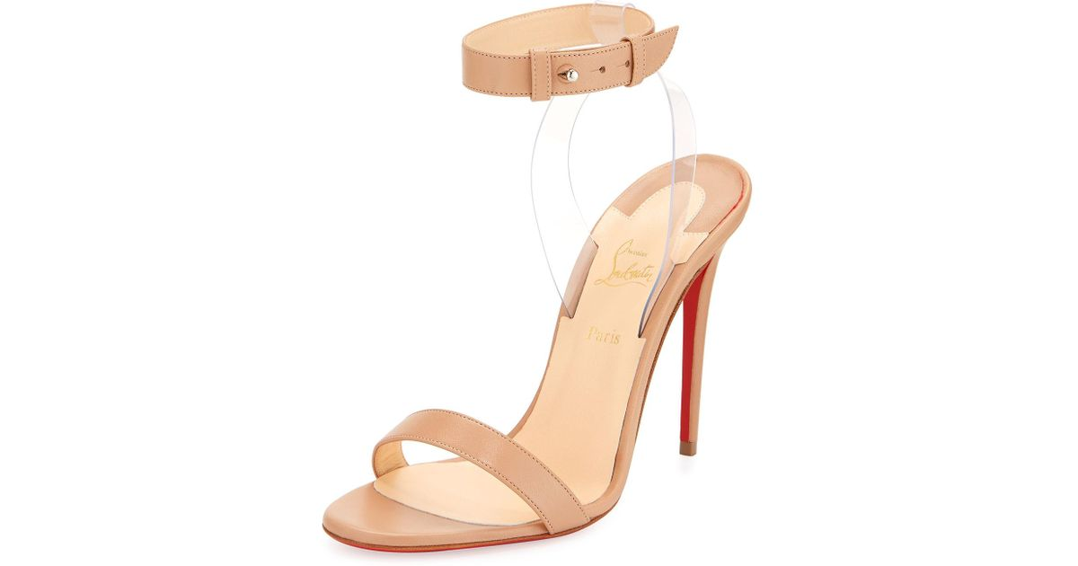 a41d460204f2 Lyst - Christian Louboutin Jonatina Illusion Red Sole Sandal in Natural