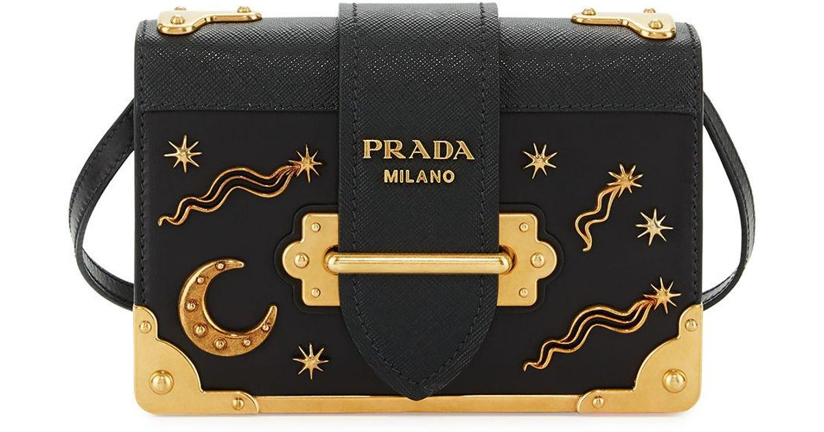 e34438651ca6 Lyst - Prada Cahier Petit Leather Trunk Bag in Black