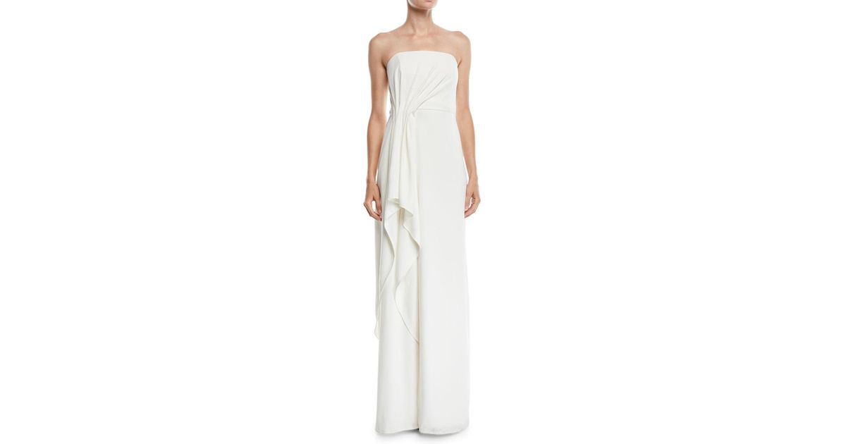 39ad1907171 Halston Strapless Crepe Gown W/ Draped Front in White - Lyst