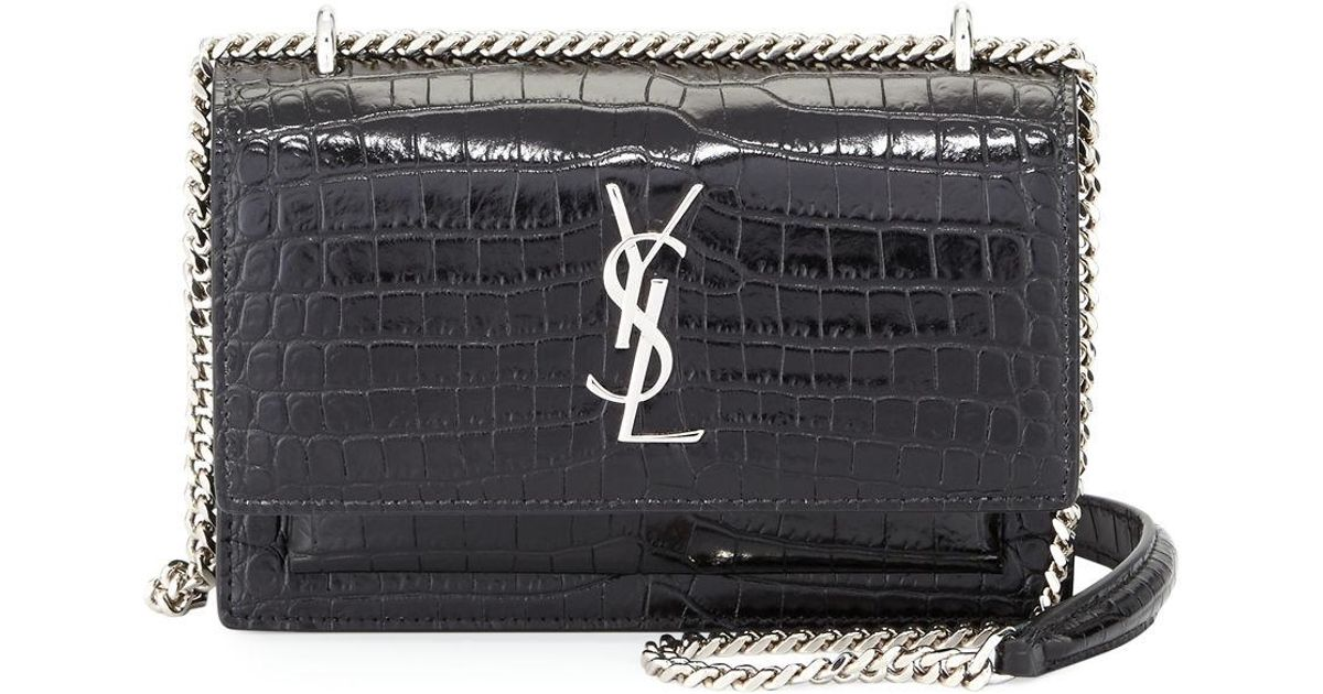 Saint Laurent Sunset Monogram Ysl Small Crocodile-embossed Wallet On A Chain  in Black - Lyst b9e8af602c91f