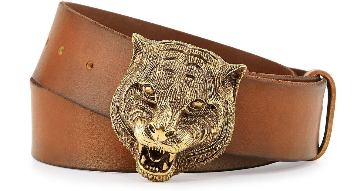 e8b67d58aa0 Gucci Men s Leather Belt With Tiger Buckle in Brown for Men - Lyst