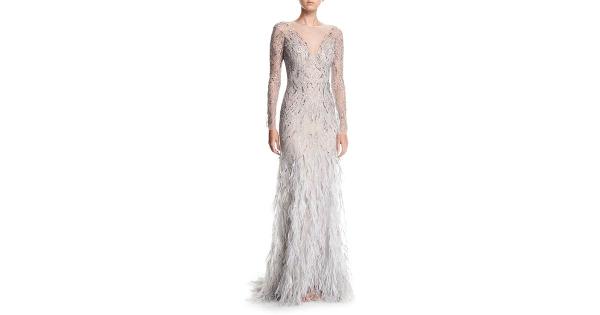 Lyst - Monique Lhuillier Embellished Long-sleeve Illusion Evening ...