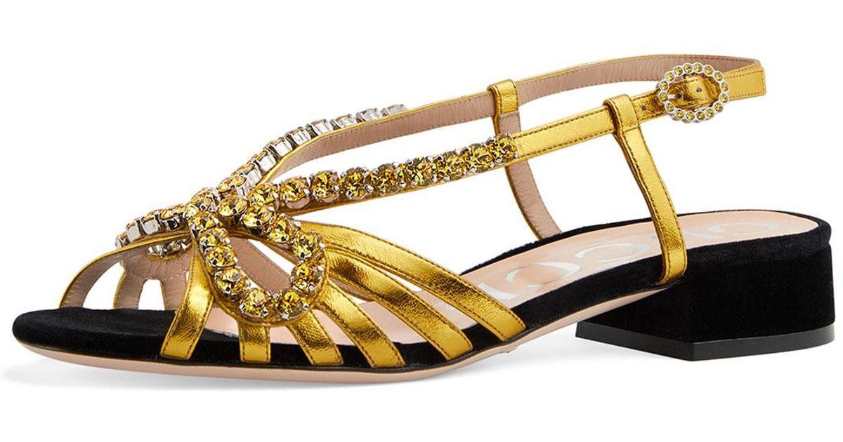75fe882b0d46 Lyst - Gucci Strappy Slingback Crystal Sandals in Metallic
