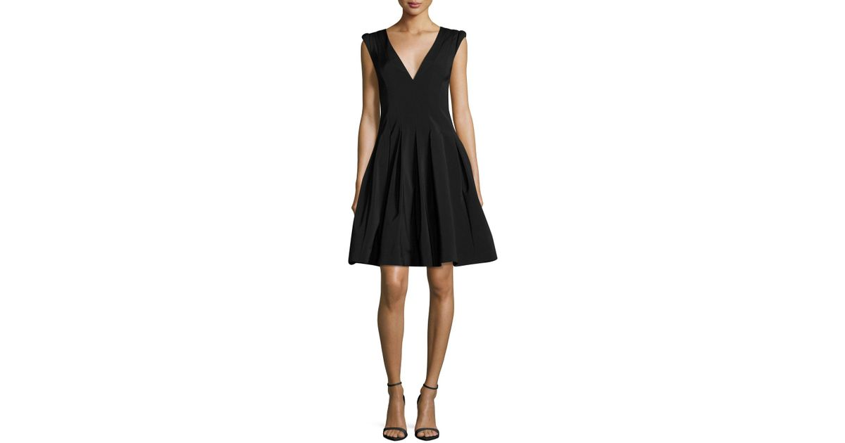 e1b53b5363df Lyst - Halston V-neck Cap-sleeve Fit-and-flare Cocktail Dress in Black