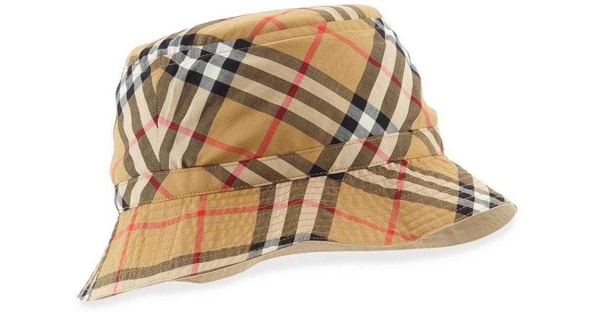 91c7e1cb128 Lyst - Burberry Vintage Check Bucket Hat in Natural