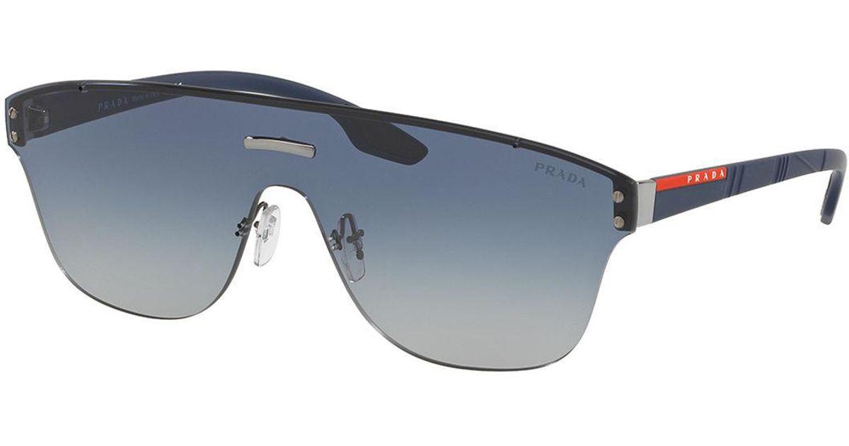 150c2f52e73 ... sweden lyst prada mens ps57ts rimless shield sunglasses in blue for men  f7e5c 88d88
