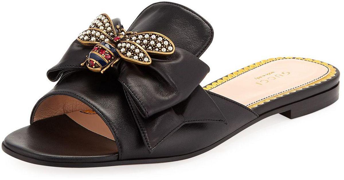 f4977241bdef Lyst - Gucci Embellished Bee Slide Sandals in Black