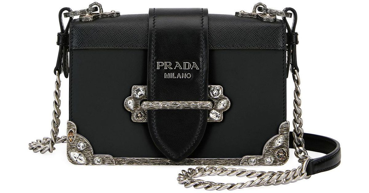 9aa53b306f Lyst - Prada Embroidered Small Cahier Crossbody Bag in Black