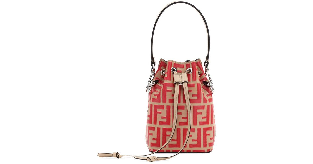 Lyst - Fendi Mon Tresor Small Ff Bucket Bag in Red 093675f110fbc
