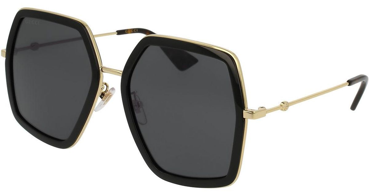 0053f8041 Gucci Oversized Square Web Sunglasses in Black - Lyst