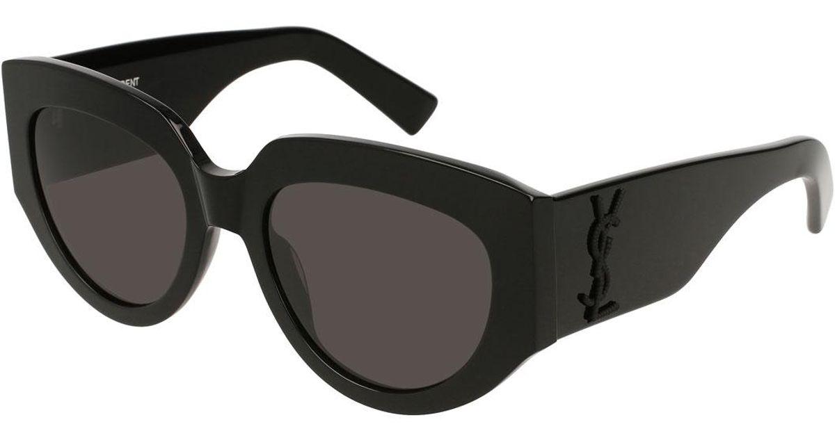 d31c48b7f9 Saint Laurent Cat-eye Acetate Sunglasses W  Ysl Pin in Black - Lyst