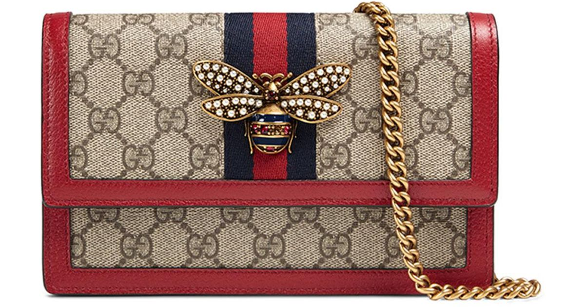 3cd1a6b89af8f0 Gucci Queen Margaret Gg Supreme Wallet On Chain in Natural - Lyst
