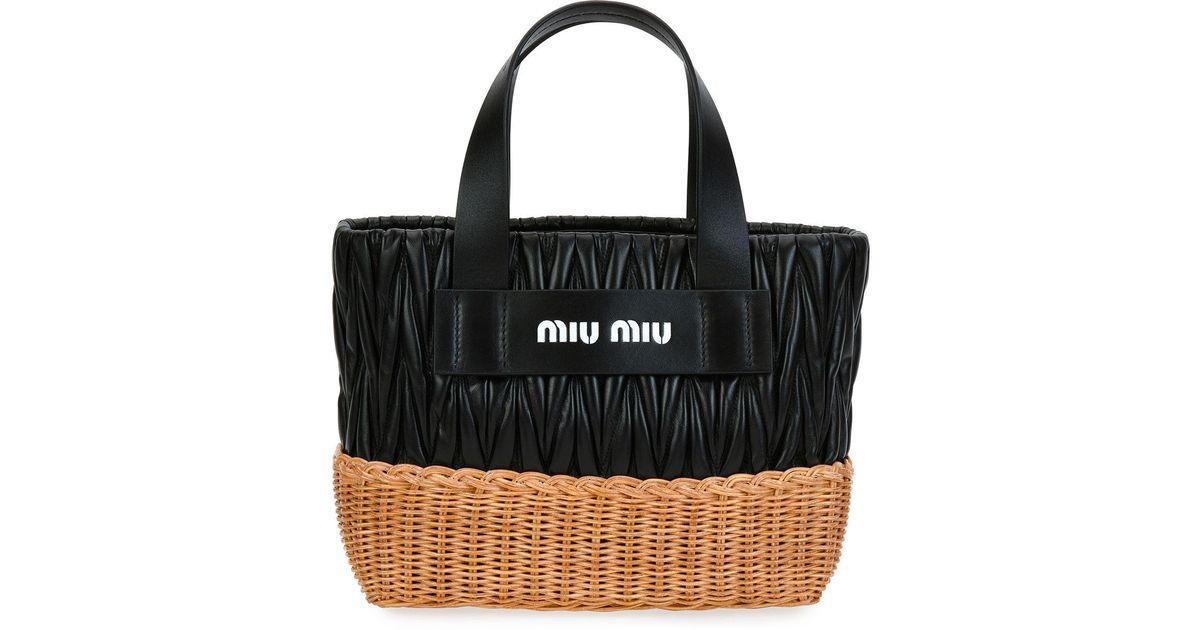 Miu Miu Matelasse Leather & Wicker Tote Bag ba4H2OOU