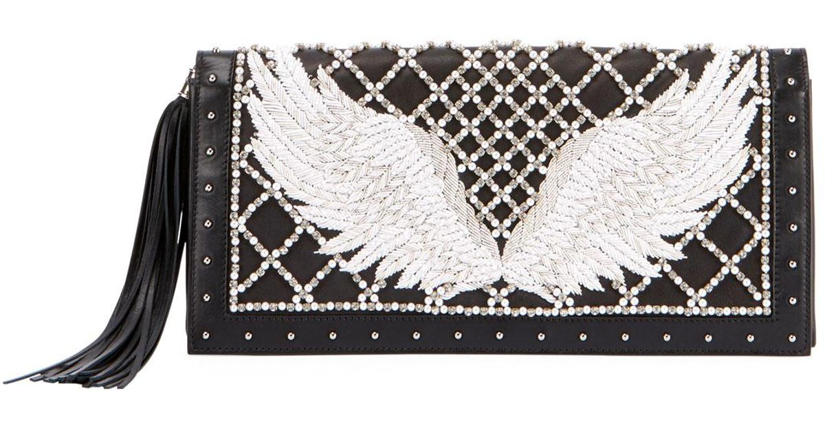 convenience goods hottest sale special sales Balmain Black Wing-embroidered Leather Clutch Bag