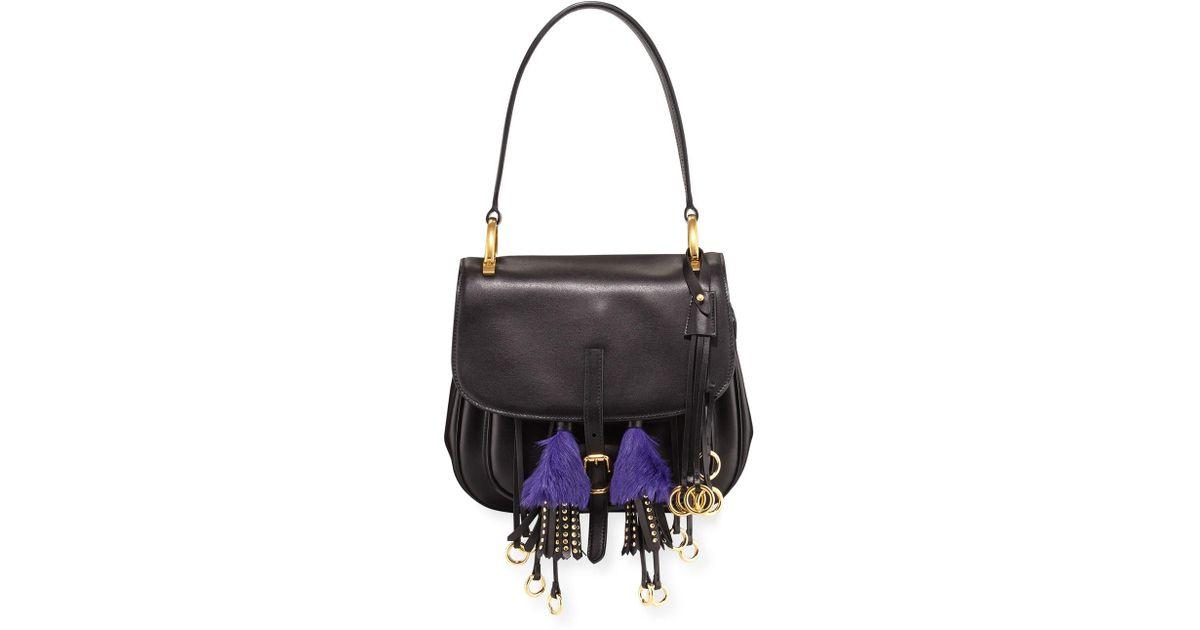 265825feb805 Lyst - Prada Corsaire Calf Leather Fringe Shoulder Bag in Black