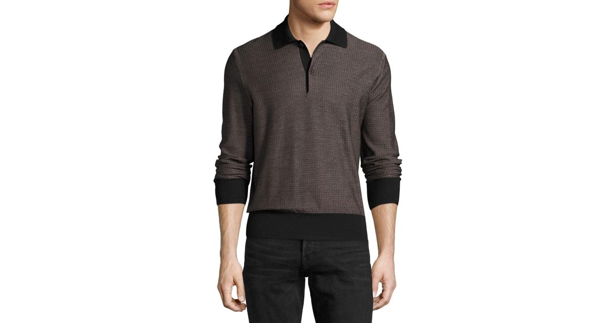 c98af308 Lyst - Tom Ford Micro-texture Long-sleeve Silk-merino Wool Polo Shirt in  Black for Men