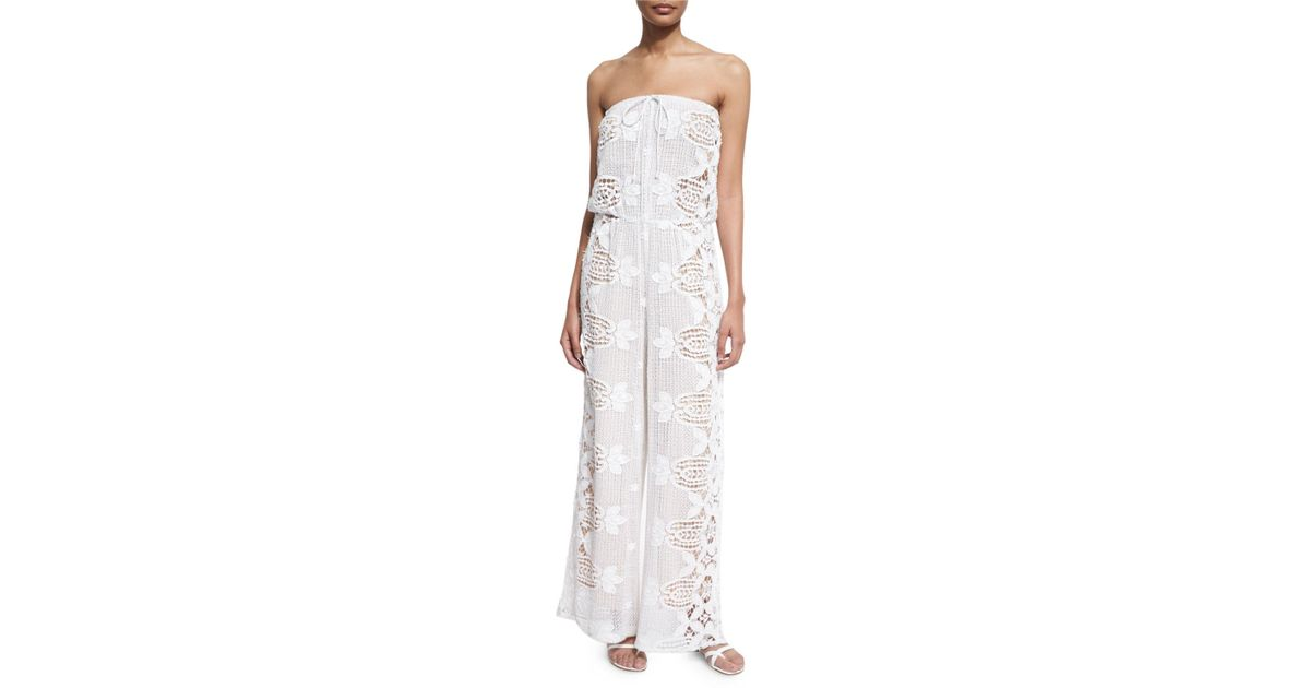 e2a3f6d7f8d7 Lyst - Miguelina Piper Strapless Lace Jumpsuit Coverup in White