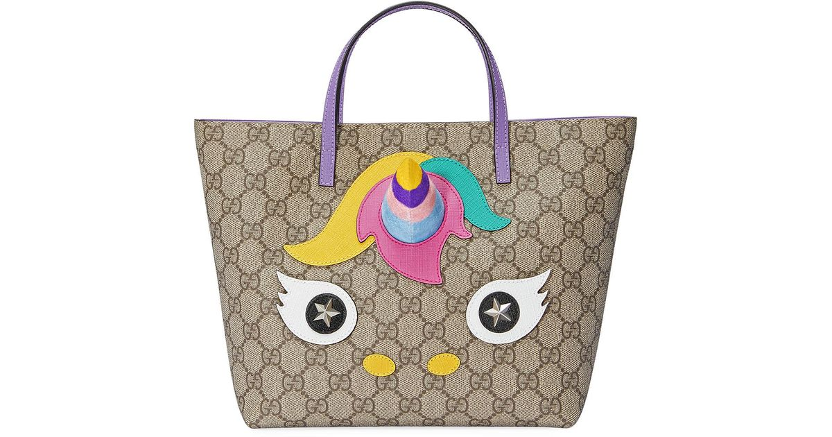 945c283d15bb Gucci Girls' Gg Supreme Unicorn Tote Bag in Natural - Lyst
