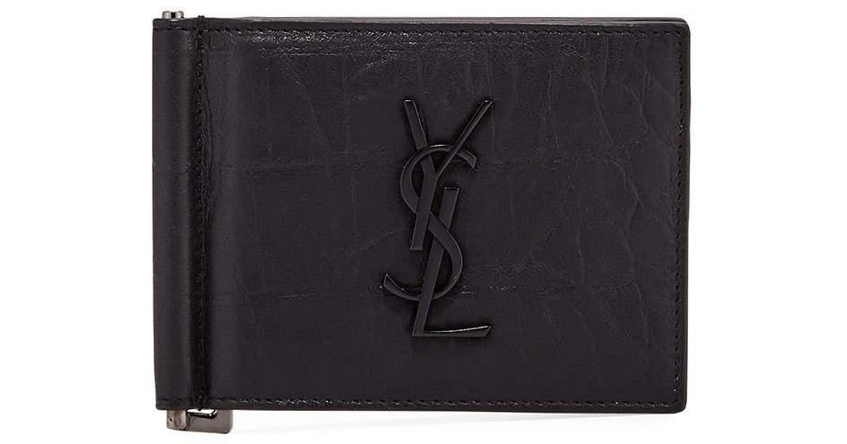 8c6b363d6967e Lyst - Saint Laurent Men s Ysl Leather Billfold Wallet W  Money Clip in  Black for Men