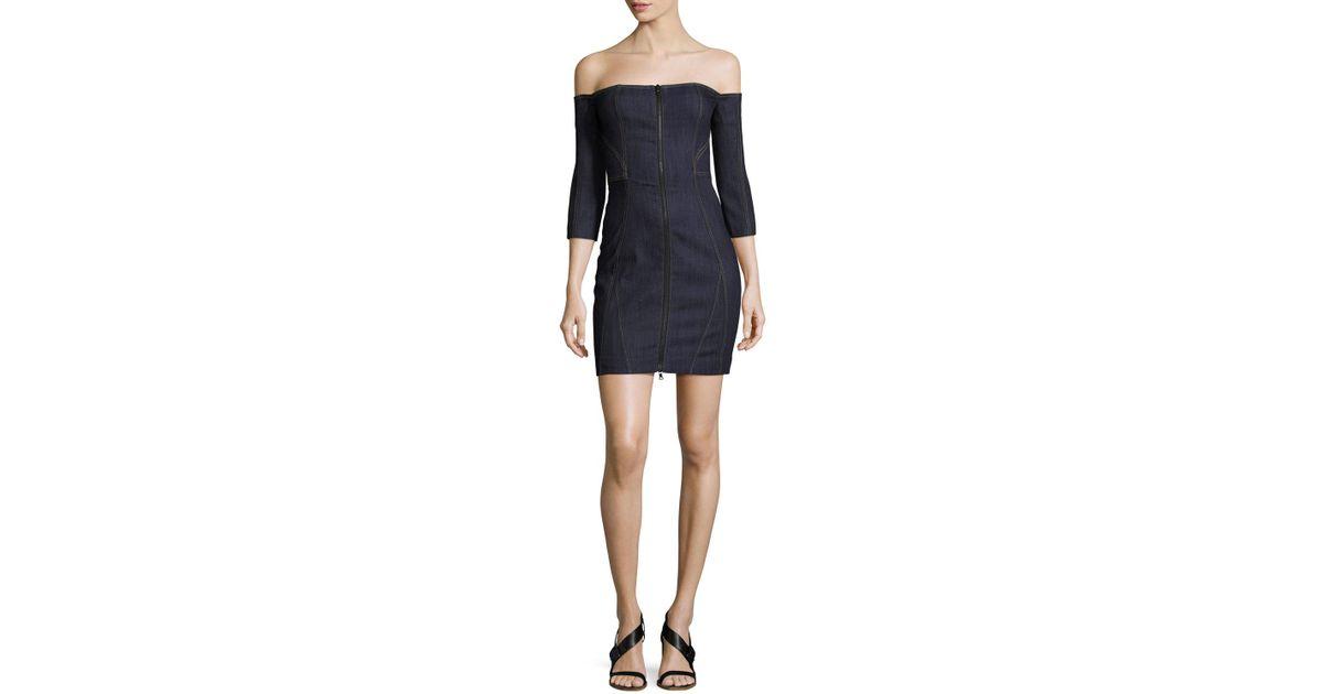 13425b5ac79 Lyst - Cinq À Sept Fenton Denim Off-the-shoulder Zip-front Mini Dress in  Blue