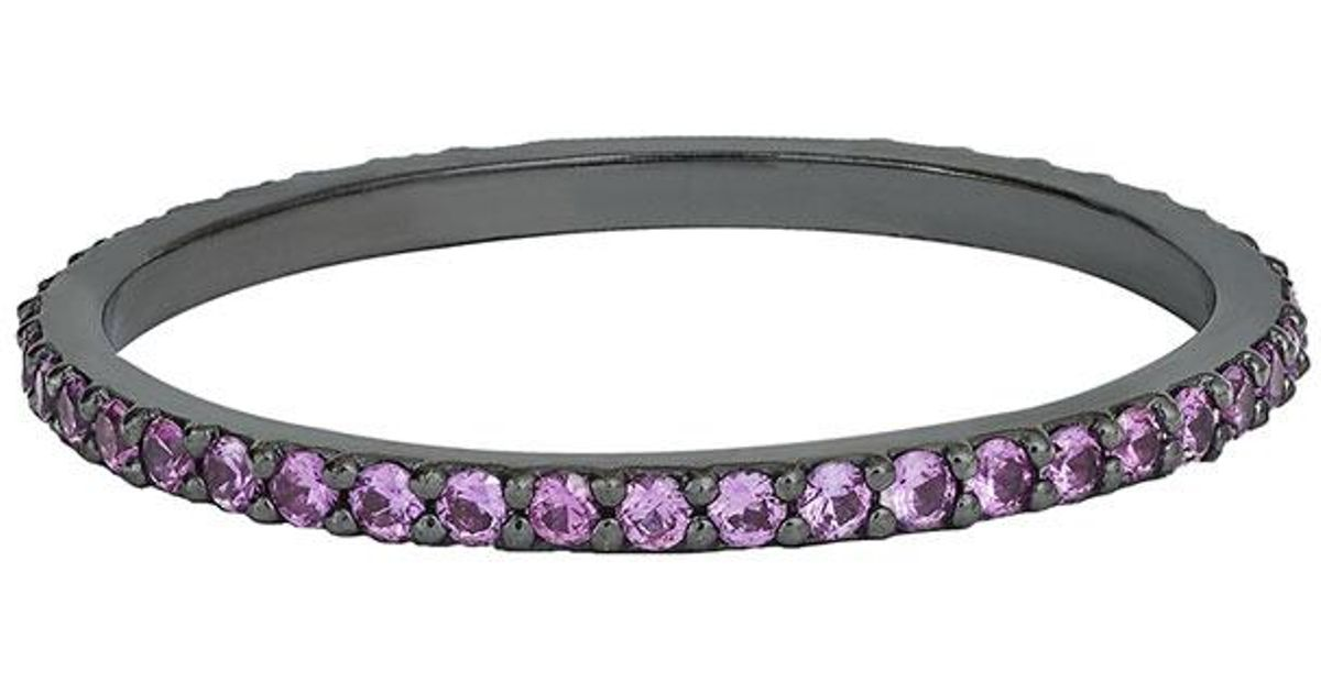 Lana Jewelry Electric Pink Sapphire Bangle in 14K Black Gold ohoar9X