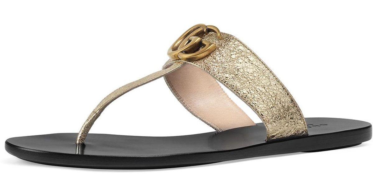 0bae84f10e4 Gucci Marmont Flat Metallic Leather Thong in Metallic - Lyst