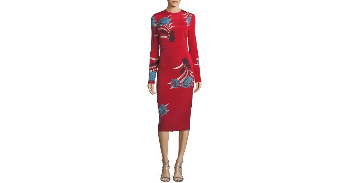 a4624f28 Diane von Furstenberg Tailored Long-sleeve Floral Sheath Dress in Red - Lyst