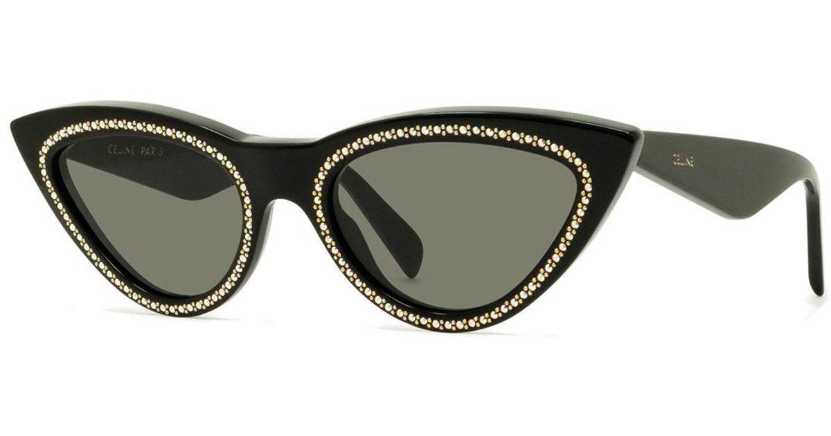 3a90b8fc14 Lyst - Céline Studded Cat-eye Acetate Sunglasses in Black