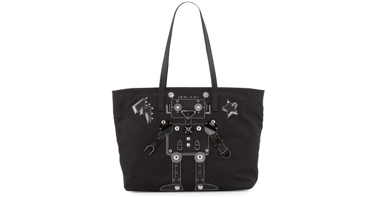 0c907e4ea664 Prada - Black Medium Nylon Robot Tote Bag - Lyst