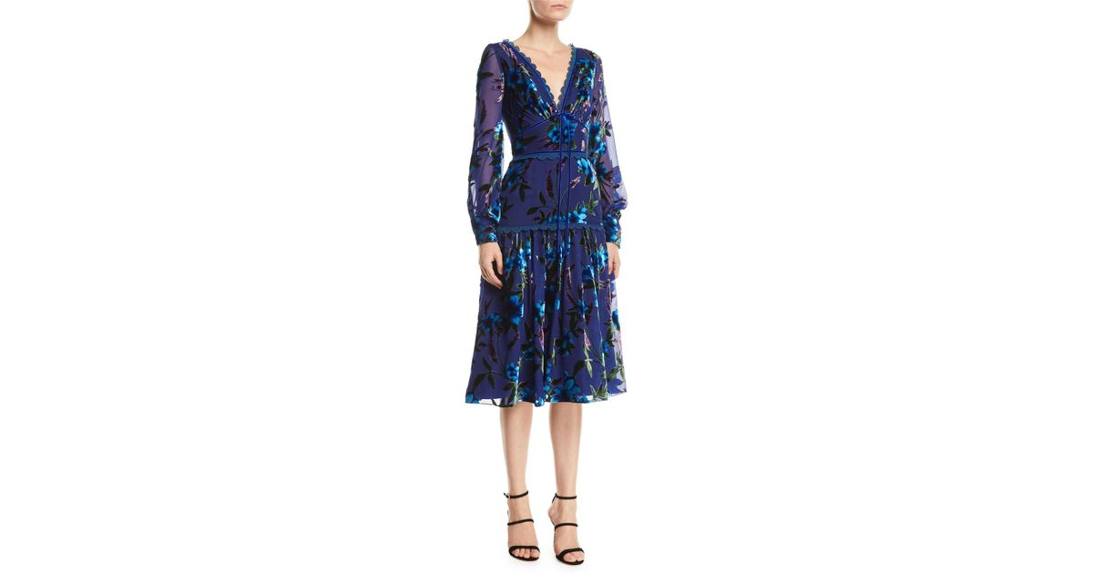 1da88324 Marchesa notte Floral Velvet Burnout Bishop-sleeve Dress in Blue - Lyst