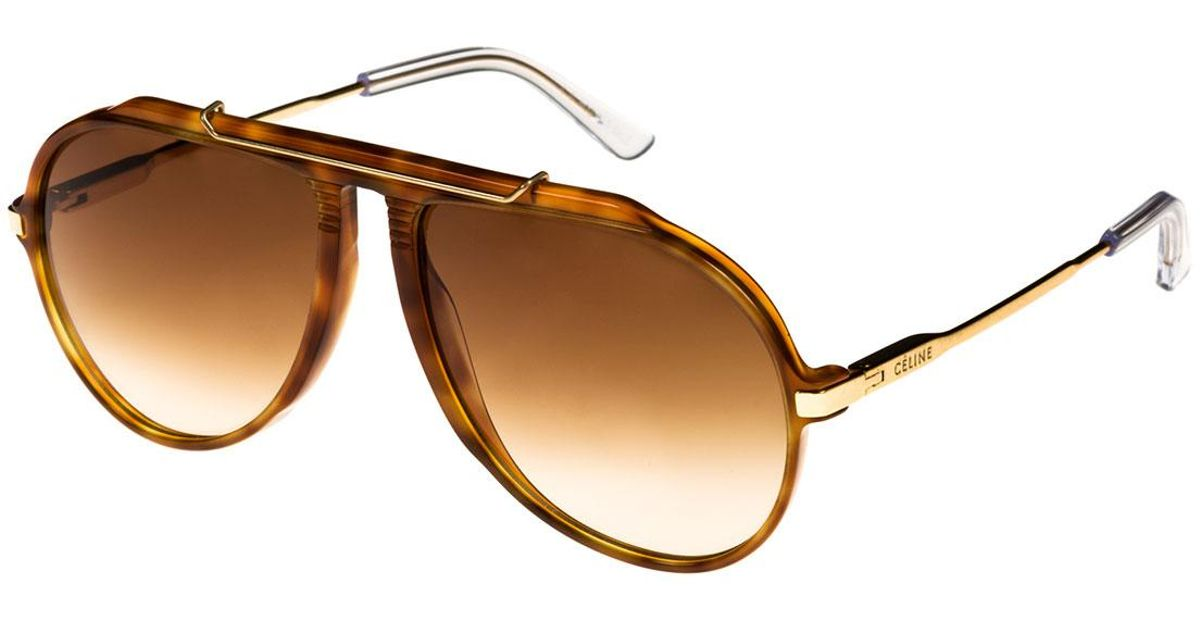 feab98bb3e1 Lyst - Céline Gradient Acetate   Metal Aviator Sunglasses in Brown