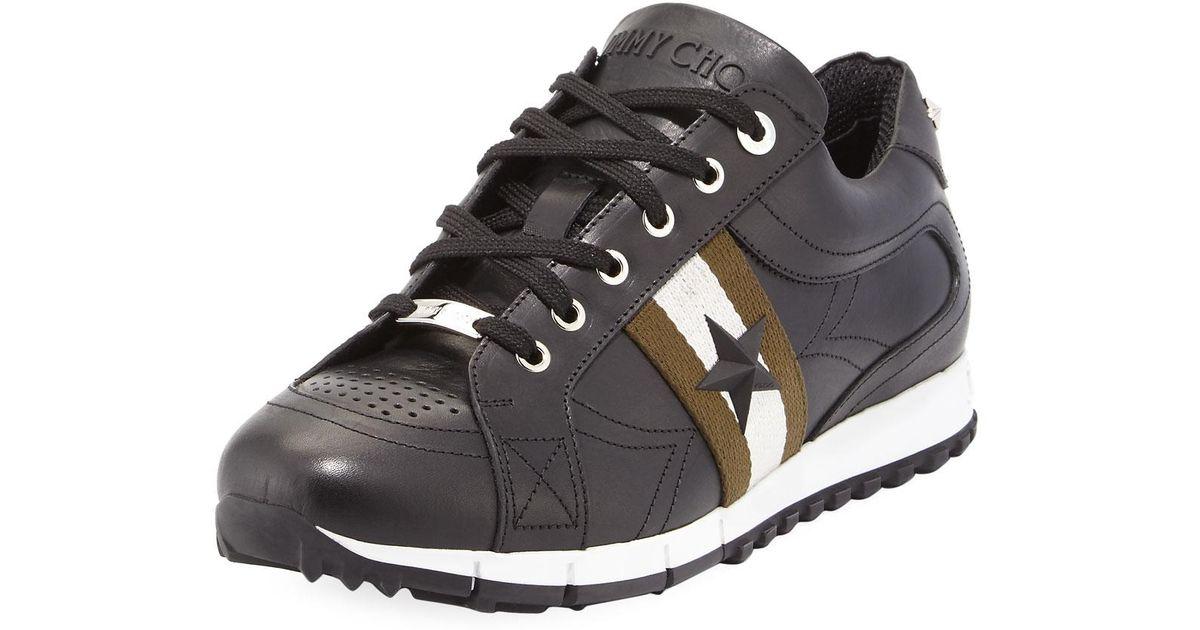 d7544259ece6 ... release date lyst jimmy choo rafi mens star leather trainer sneaker in  black for men 74a80