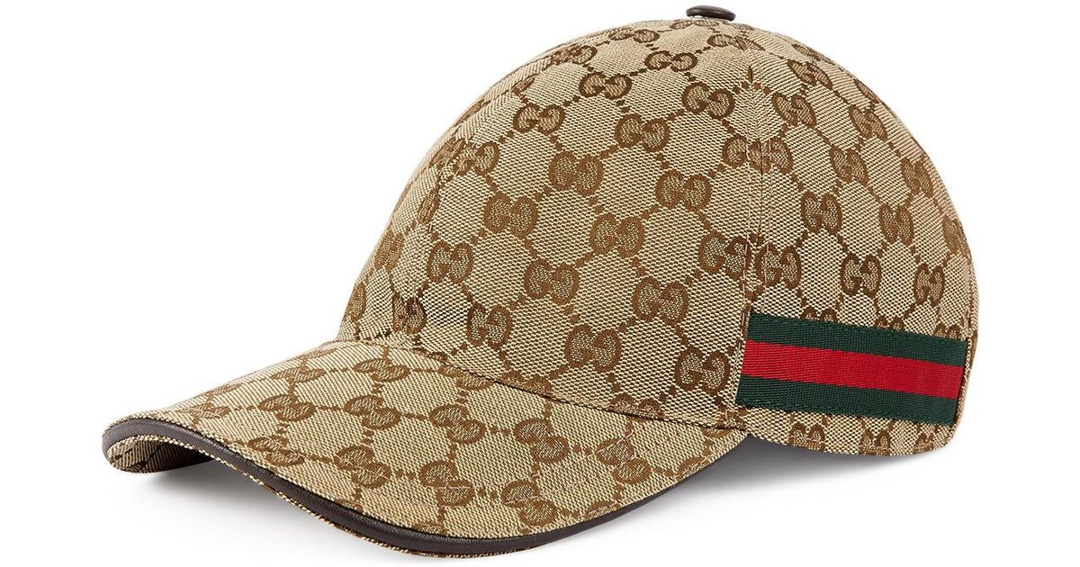 Lyst - Gucci GG Web Stripe Baseball Cap in Brown for Men c6f0d56bdf2