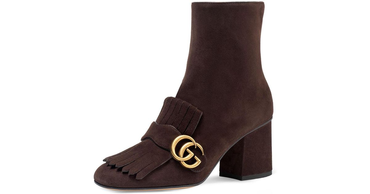 ef0179a6069 Gucci Marmont Suede 75mm Ankle Boot in Brown - Lyst